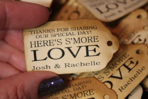 """Smore Love Choose your quantity SMALL 2"""" Favor Tag type the names you would like on your tag in the notes to seller area at checkout"""