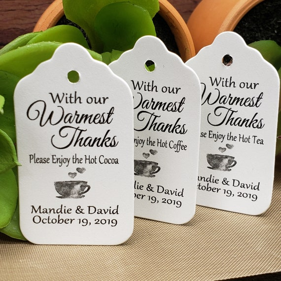 "With Our Warmest Thanks (my SMALL tag) 1 1/8"" x  2"" Favor Tag"