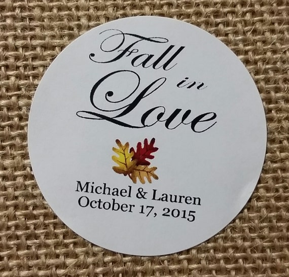 "Fall in Love 2"" STICKER Personalized Wedding Engagement Shower Favor STICKER"