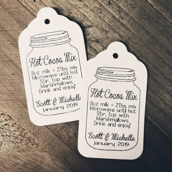 "Hot Cocoa Mix Directions (my MEDIUM) 1 3/8"" x 2 1/2"" Tags Personalize with names date, keep warm,"