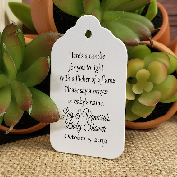 """Here's a candle for you to light keepsake favor (my MEDIUM Tag) 1 3/4"""" x 2 1/2"""" Personalize with names event and date Choose your Quantity"""