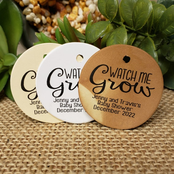 Watch me grow Personalized 1.5inch ROUND tag choose your amount Wedding Baby shower Keepsake souvenir Favor tag card