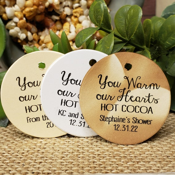 You Warm our Hearts Hot Cocoa Personalized 1.5inch ROUND tag choose your amount Wedding Anniversary Keepsake souvenir Favor tag card