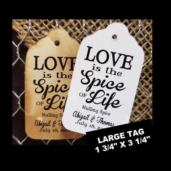 Love is the Spice of Life favor tag MY LARGE Size Personalized Wedding Shower Favor Tag CHOOSE your amount
