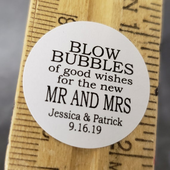 "Blow Bubbles of Good Wishes for the new Mr and Mrs SMALL 1"" STICKER Personalized Wedding Engagement Shower Favor STICKER choose your amount"