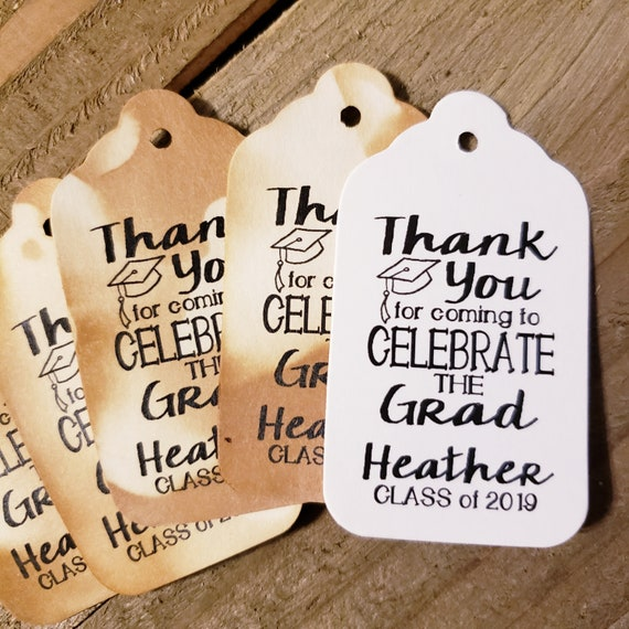 Thank You for Coming to Celebrate the Grad MEDIUM Personalized Graduation class of Favor Tag CHOOSE your amount Graduation Thank you