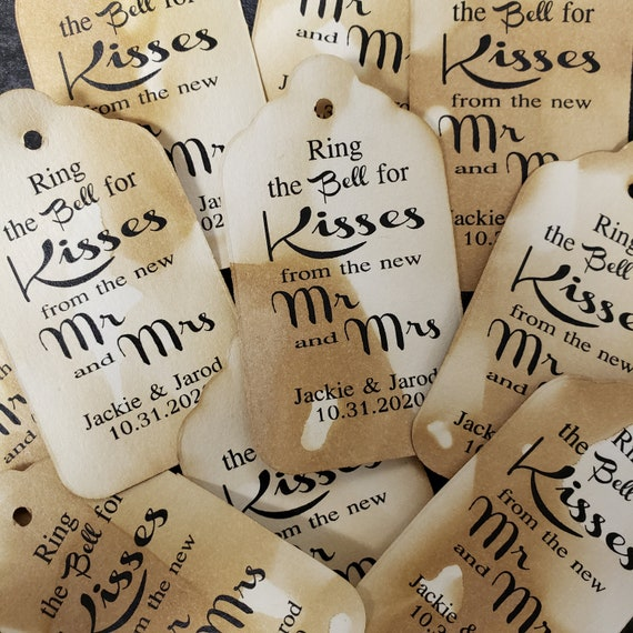 "Ring the Bell for Kisses from the new MR and MRS  Personalized Wedding Favor (my MEDIUM tag) 1 3/8"" x 2 1/2"" choose your amount"