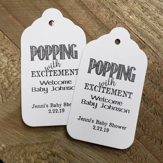 "Popping with Excitement Welcome Baby (my MEDIUM tag) 1 3/8"" x 2 1/2"" Personalized Shower Favor Tag choose your amount"