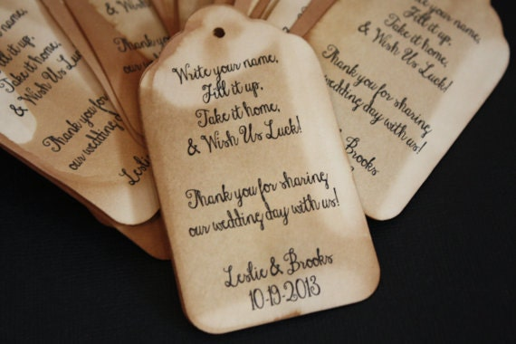 Personalized Wedding Drink Tag Fill It Up favor tags Here is Your Glass Write your Name