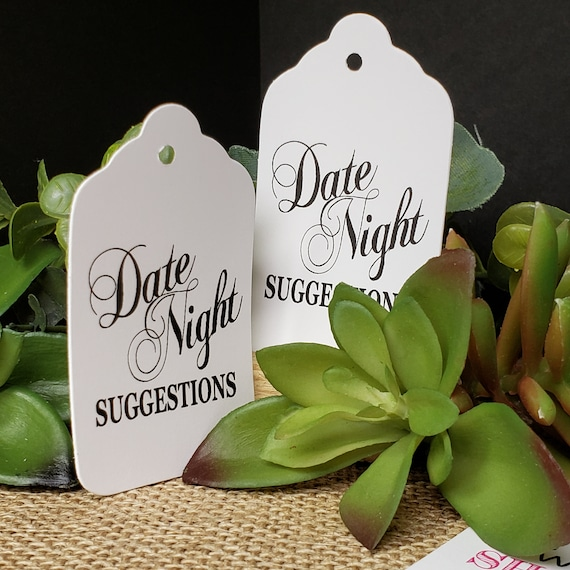 "Date Night Suggestions (my MEDIUM tag) 1 3/8"" x 2 1/2"" Choose Quantity NON Personalized souvenir keepsake favor"