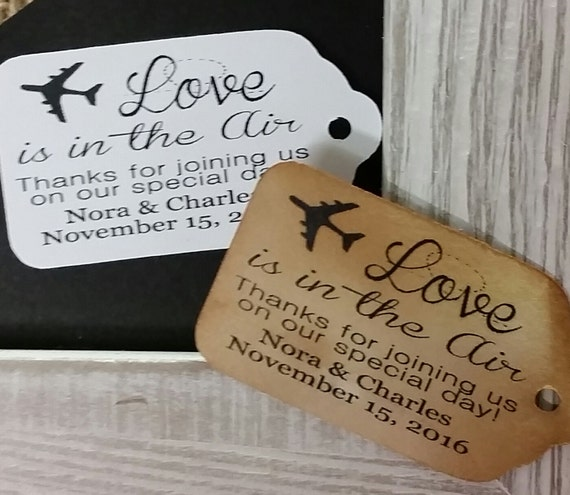 "Love is in the Air Thanks for Joining us Choose your quantity (my SMALL tag) 1 1/8"" x 2"" Favor Tag"