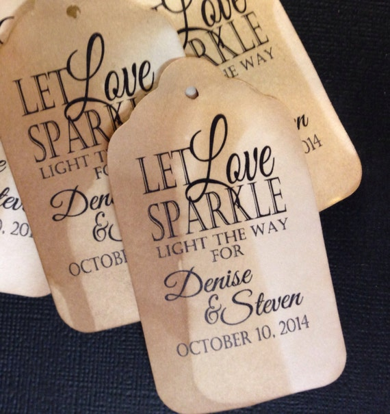 Let Love Sparkle Sparkler Farewell Favor Tag Personalize with names and date choose your quantity
