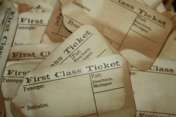 First Class Travel Stub Luggage Style Favor Tags 3 1/4 inches Choose Your Quantity