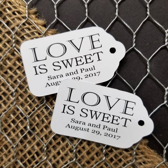 "Love is Sweet Personalized Wedding Favor Choose your quantity SMALL 2"" Favor Tag"