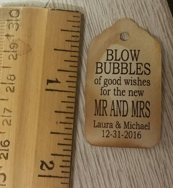 Blow Bubbles of Good Wishes for the new Mr and Mrs EXTRA SMALL 7/8 x 1 5/8 Wedding Bubble Favor Tag