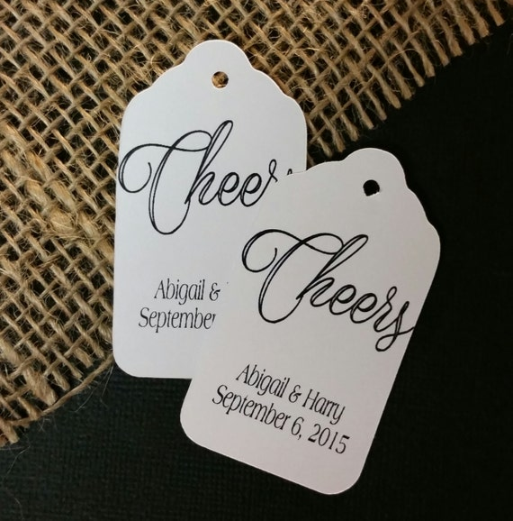 Cheers MEDIUM Personalized Wedding Shower Party Favor Tag  choose your amount