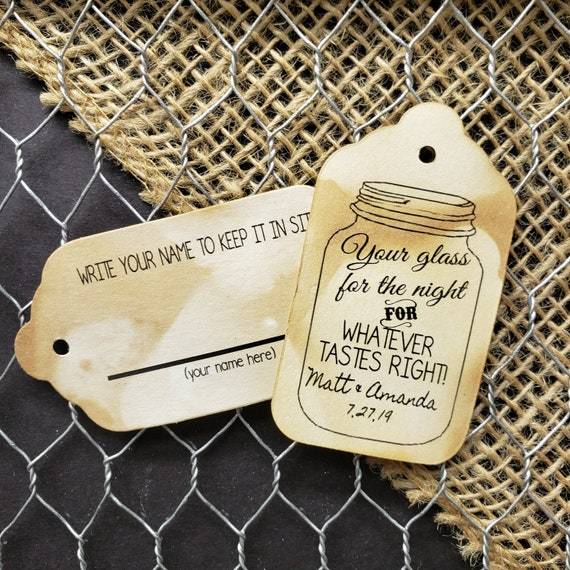 Your Glass for the Night for whatever tastes right Double Sided with guest line MEDIUM Personalized Wedding Favor Tag  choose your amount