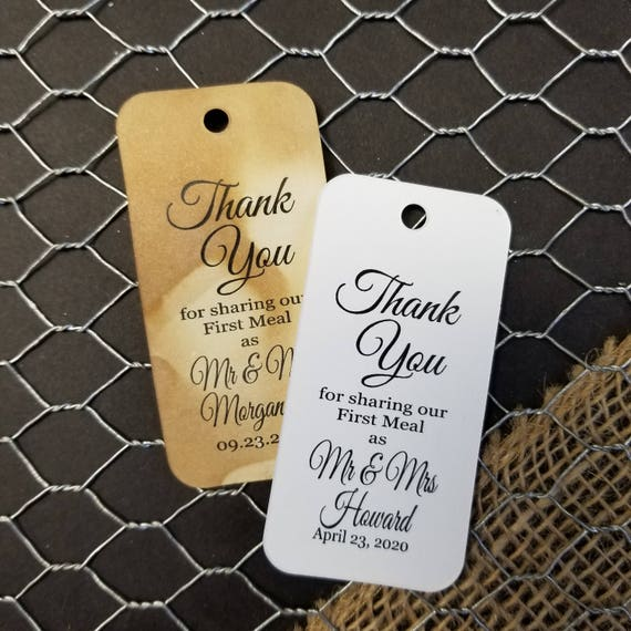 """Thank you for Sharing our First Meal as Mr and Mrs RECTANGLE 1.5"""" x 3"""" Personalized Wedding Favor Tag  choose your amount"""
