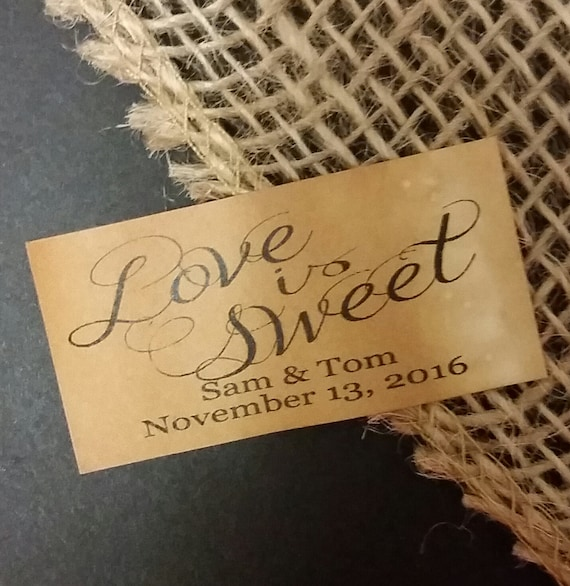 "Love is Sweet Sticker Favor 1.25"" x 2.25"" STICKER choose your amount Envelope Seal"