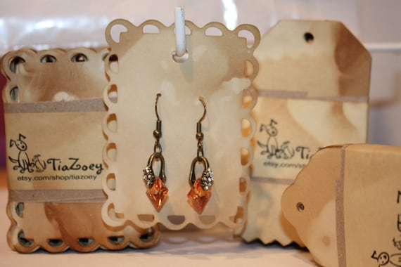 Earring Display Card 50 Tea Stained Lace Edge Jewelry display card
