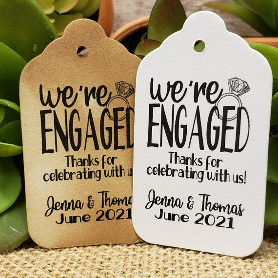 """We're Engaged Thanks for celebrating with us (my MEDIUM tag) 1 3/8"""" x 2 1/2"""" Personalized Wedding Engagement Shower Favor, were engaged"""