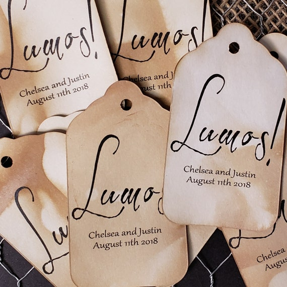 "Lumos (my LARGE size tag) 1 3/4"" x 3 1/4"" Personalized Sparkler Glow Stick Farewell Tags Choose your quantity tags tea stained"