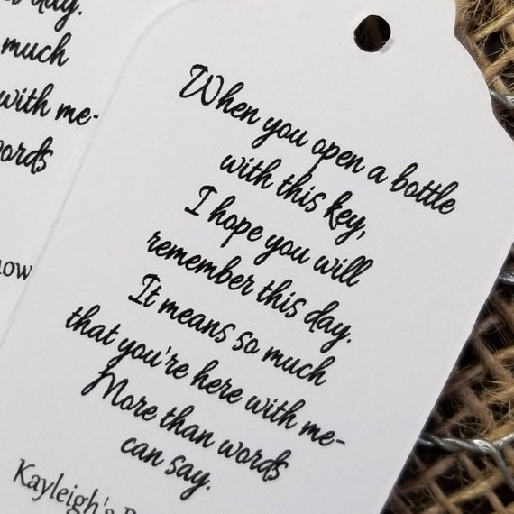When you Open a Bottle with this antique key MEDIUM Tags Bottle Opener Tag Favor Tag Personalize with names and date