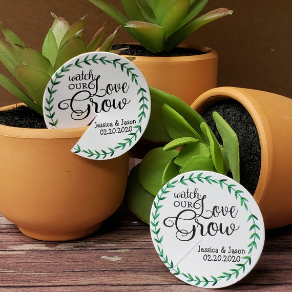 Watch our Love Grow Personalized 1.5inch ROUND tag choose your amount Succulent Souvenir Shower Wedding Favor tag card
