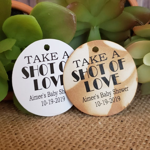 Take a Shot of Love Personalized Shower Favor 1.5inch ROUND tag choose your amount