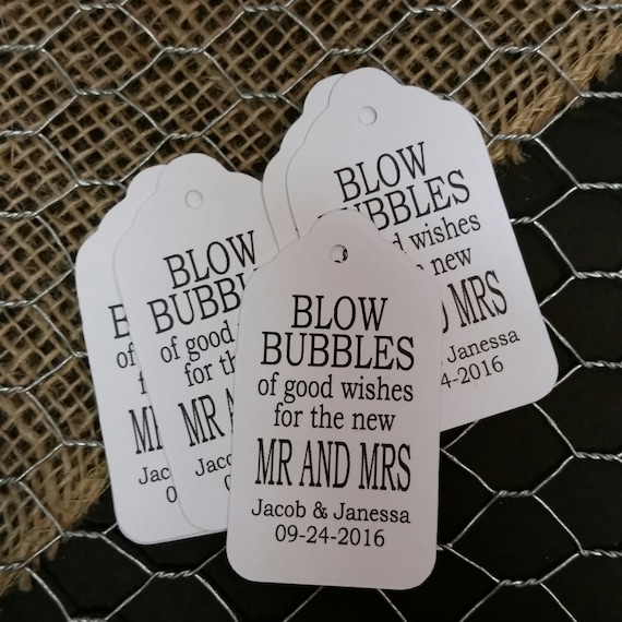 "Blow Bubbles of good wishes for the new Mr and Mrs (my MEDIUM tag) 1 3/8"" x 2 1/2"" Personalized Wedding Favor Tag  choose your amount"