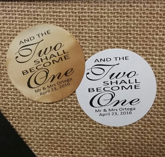 "Two Shall Become One 2"" STICKER Personalized Wedding Engagement Shower Favor STICKER"