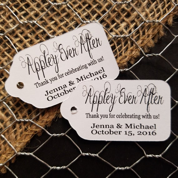 """Appley Ever After SMALL 2"""" Favor Tag Choose your quantity Happily ever after"""