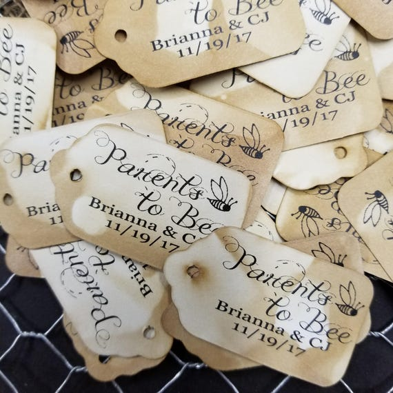 "PARENTS to BEE SMALL Personalized Favor 2""  Tag baby shower adoption shower new baby"