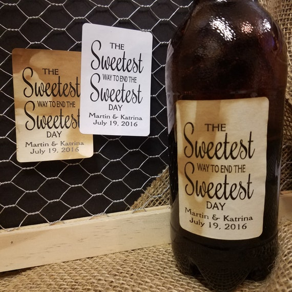 """Sweetest way to End the Sweetest Day 2"""" x 3""""  STICKER Personalized Wedding Shower Favor STICKER choose your amount"""