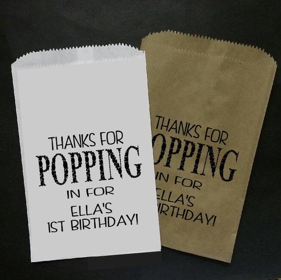 Thanks for Popping in Birthday FAVOR BAG