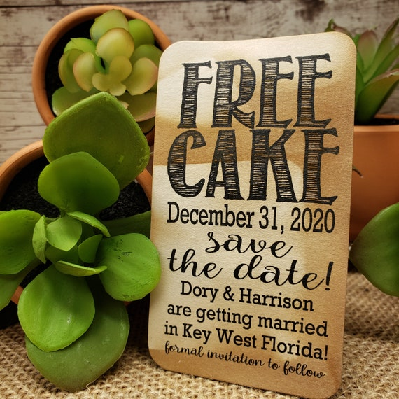 "FREE Cake Save the Date (my RECTANGLE tag) 2"" x 3 1/2"" Tag Personalize with names, destination, date party savor tag Free Cupcake"