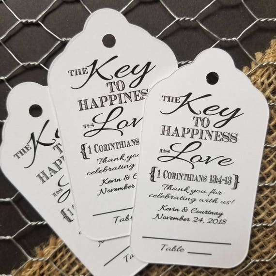 Key to happiness is Love 1 Corinthians 13:4-13 Large Tags Guest Tags with table number line Choose your Quantity