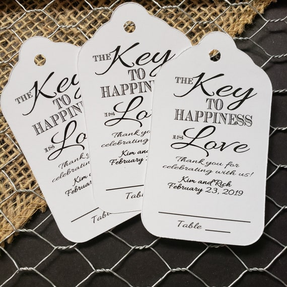 "Key to happiness is Love Guest Tags with table number line (my LARGE tag) 3 1/4 x 1 3/4"" Choose your Quantity"