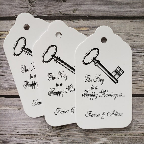 "Key to a Happy Marriage is . . . Souvenir favor tag (my LARGE tag) 1 3/4"" x 3 1/4""  Personalize"