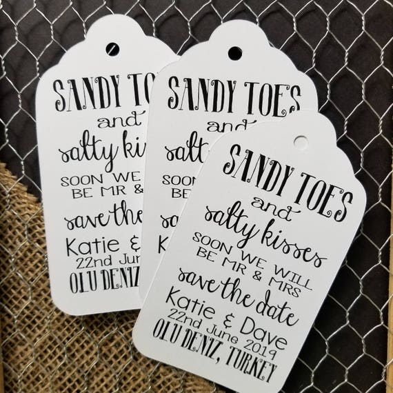 "Sandy Toes and Salty Kisses Save the Date Beach Wedding Theme XLARGE 5 1/4"" x 2 7/8"" Personalized Wedding Favor Tag  choose your amount"