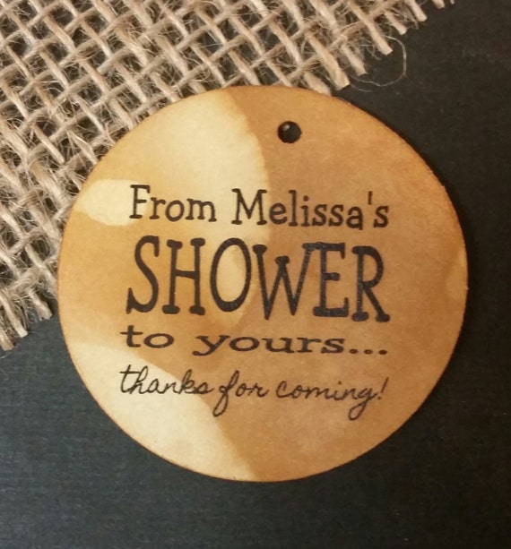From My Shower to Yours Personalized Shower Favor ROUND tag choose your amount