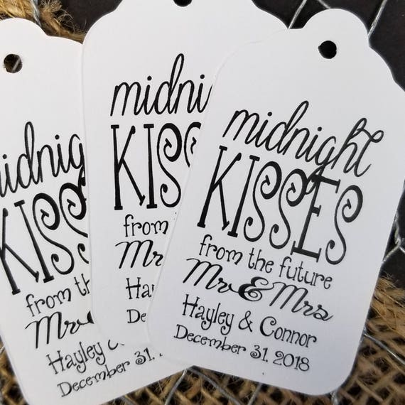 Midnight Kisses from the Future Mr and Mrs Personalized Wedding Favor MEDIUM tag choose your amount, hugs and kisses, new mr and mrs