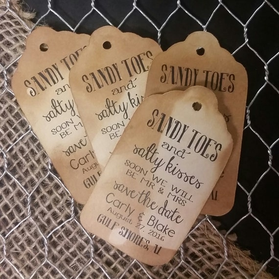 Sandy Toes and Salty Kisses Save the Date Beach Wedding Theme MEDIUM Personalized Wedding Favor Tag  choose your amount