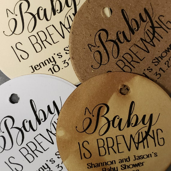 A Baby is Brewing Personalized 1.5inch ROUND tag choose your amount Wedding Anniversary Keepsake souvenir Favor tag card