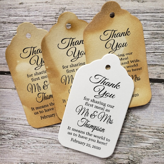 "Thank you for Sharing our First Meal as Mr and Mrs (my MEDIUM tag) 1 3/8"" x 2 1/2"" Personalized Wedding Favor Tag Souvenir Husband and Wife"