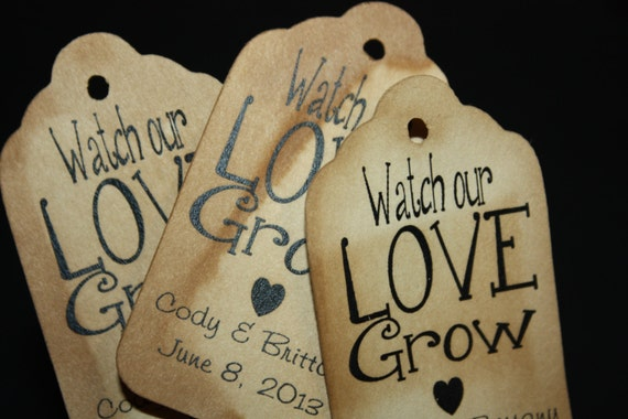 Watch our Love Grow 100 Personalized Wedding Favor Tags
