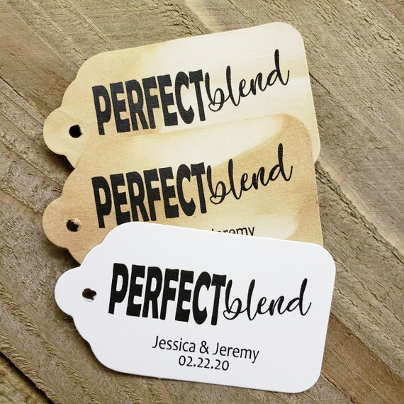 "Perfect Blend (my MEDIUM tag) 1 3/8"" x 2 1/2"" Personalized Wedding, Shower, Party Favor Tag .... click the options for different quantities"