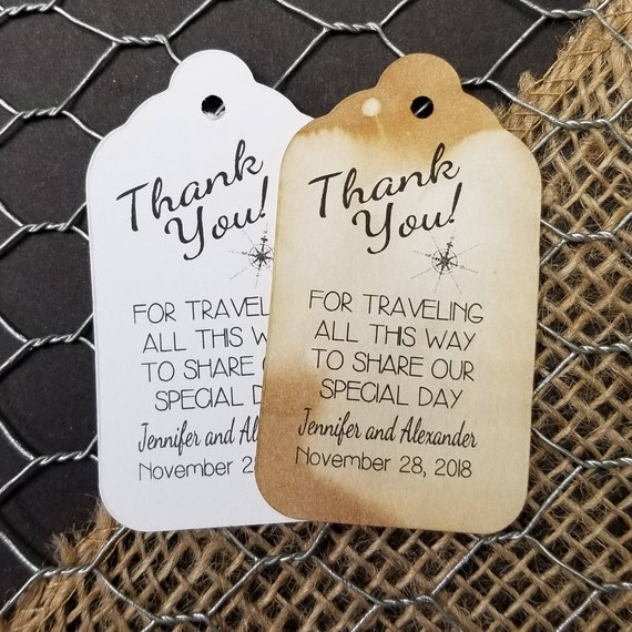 "Thank You For Traveling all this Way to Share Our Special Day Choose your quantity SMALL 2"" Favor Tag"