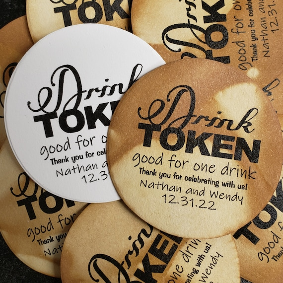Drink Token 1.5inch ROUND tag Personalized Wedding Engagement Shower Favor choose your amount
