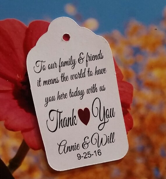 To our Family and Friends Thank you LARGE Tag Personalize with names and date choose your quantity